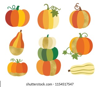 Fall or autumn pumpkin with gold accent vector illustration. Thanksgiving and Halloween decorative pumpkin graphic set.