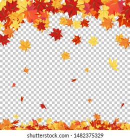 Fall (Autumn) Theme With Maple Leaves. Transparency Grid Background Design. Vector Illustration.