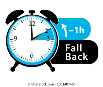 Fall back. Winter time alarm clock. Vector icon.