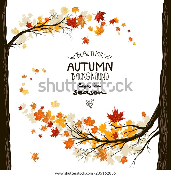 Fall background with leaves. Autumnal frame from trees