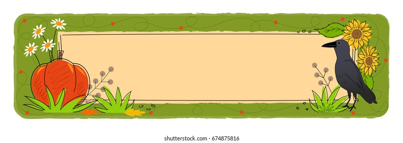 Fall Banner - Decorative fall blank banner with crow, pumpkin and flowers. Eps10