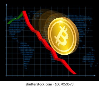 Fall of bitcoin. Cryptocurrency index rating go down on exchange market. Vector illustration