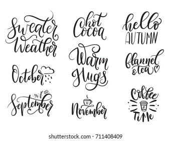 Fall Calligraphy Set. Big Set Of Autumn Quotes Isolated On White  Background. Sweater Weather