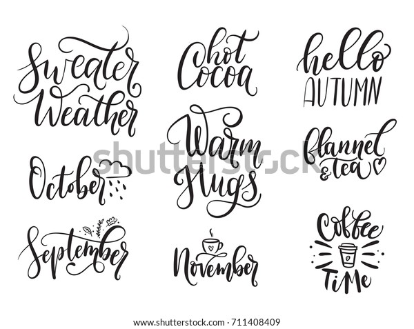 Fall Calligraphy Set Big Set Autumn Stock Vector (Royalty ...