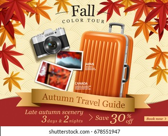 Fall color tour ads, autumn travel guide ads for travel agency or website with elegant maples frame and luggage, camera elements in in 3d illustration