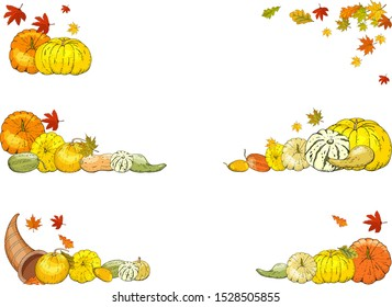 Fall colorful leaves and orange ripe pumpkins  isolated on white. Autumn background. Decorative border - seasonal frame for greeting or promotion in cartoon vector illustration.