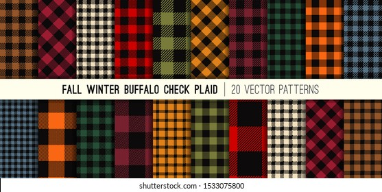 Fall Colors Buffalo Check Plaid Vector Patterns. Winter Fashion Lumberjack Flannel Shirt Fabric Textures. Repeating Pattern Tile Swatches Included.
