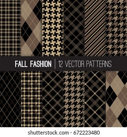 Fall Fashion Textile Patterns in Brown, Taupe Beige and Khaki. Traditional Formal Houndstooth Tweed, Tartan Plaid, Stripes and Argyle. Pattern Tile Swatches Included.