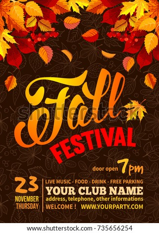 fall festival flyer poster template bright のベクター画像素材