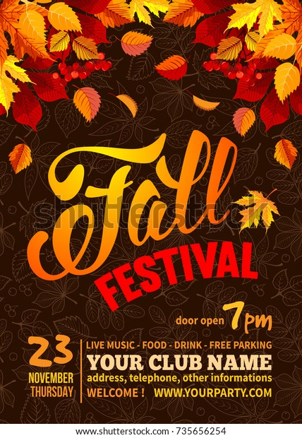 Fall Festival flyer or poster template. Bright autumn leaves on dark background with line art leaves pattern. Calligraphic inscription Fall Festival and space for your text. Vector illustration.