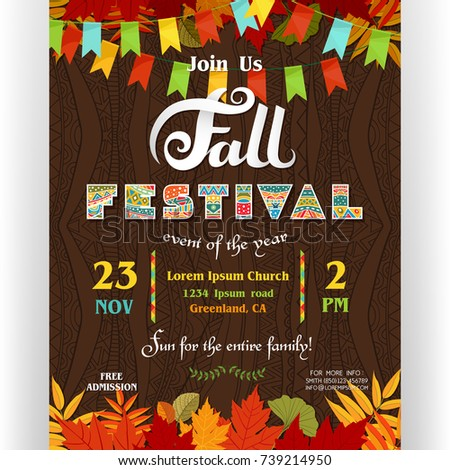 fall festival poster template text customized for invitation for celebration ornate letters colorful