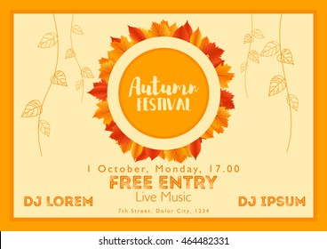 Fall Festival template. Bright colorful autumn leaves on horizontal background. Template for holidays, concerts and parties. Autumn theme.
