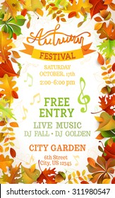 Fall Festival template. Bright colourful autumn leaves on vertical white background. You can place your text in the center.
