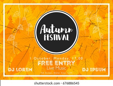 Fall Festival template. Bright colourful autumn leaves on horizontal background. Template for holidays, concerts and parties. Autumn theme.