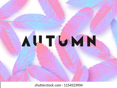 Fall Foliage. Autumn background. Leaves, minimal surrealism in vibrant bold gradient holographic neon colors.