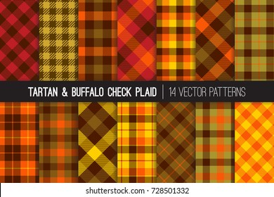 Fall Foliage Colors Tartan and Buffalo Check Plaid Vector Patterns. Brown, Red, Orange & Green Flannel Shirt Fabric Textures. Fall Fashion. Thanksgiving Day Background. Pattern Tile Swatches Included.
