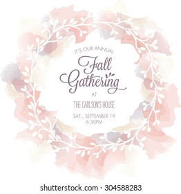 Fall Gathering Invitation Template with Watercolor Wreath - Vector