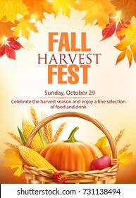 Fall Harvest Fest poster design. Vector illustration.