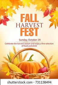 Fall Harvest Fest poster design. Vector illustration.
