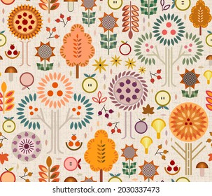 Fall harvest time concept with apples, plums, berries, unique shaped mushrooms, trees with color-changing leaves, earthy florals geometrics. Fall-festive colors surrounding the beauty of the season.