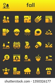 fall icon set. 26 filled fall icons.  Simple modern icons about  - Forest, Park, Dominoes, Crack, Asteroid, Landslide, Domino, Parachute, Rain, Fall, Waterfall, Accident, Sandclock