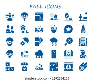 fall icon set. 30 filled fall icons. Simple modern icons about  - Rain, Parachute, Landslide, Park, Forest, Accident, Acorn, Fall, Butternut squash, Domino, Sandclock, Waterfall