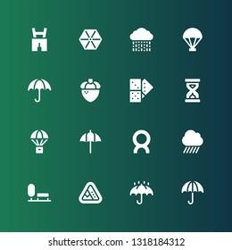 fall icon set. Collection of 16 filled fall icons included Umbrella, Landslide, Park, Rain, Comet, Parachute, Sandclock, Domino, Acorn, Lederhosen