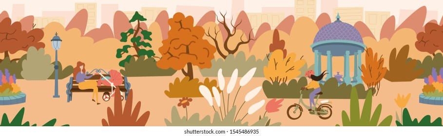 Fall landscape of a beautiful park with a gazebo. A young mother sitting on the bench with a baby carriage and a girl riding a bicycle. Seamless panorama landscape. Vector illustration in flat style.