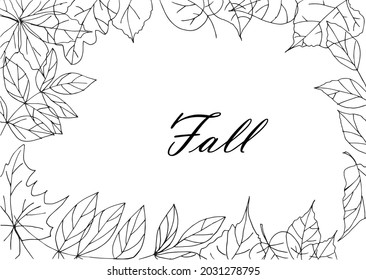 Fall leafs black and white line art frame decorative element design