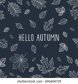 Fall of the leaves. Hello autumn. Seamless pattern. Vector illustration.