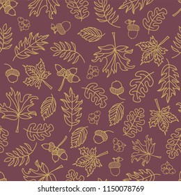 Fall leaves seamless vector background. Beige green leaves on purple background. Acorn, oak tree, maple tree pattern. Doodle leaf print. Fall background, Thanksgiving, Seasonal print, November, paper,