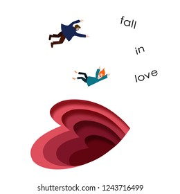 To fall in love, concept. Two fall in the sign of the heart. Valentine's day, man and woman fall in love