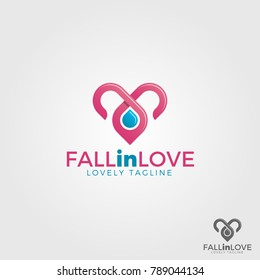 Fall in Love is a lovely logo with water drop and intertwine line concept