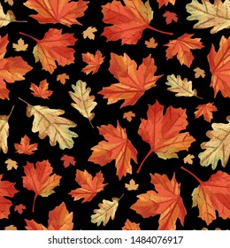 Fall maple leaves pattern. Perfect for autumn, Thanksgiving, holidays, fabric, textile, scrapbook paper. Seamless repeat pattern swatch.