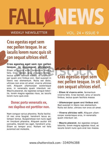 fall-newsletter-template-leaves-color-600w-334096388 Vector Newsletter Template on logo vector, newsletter button, newsletter icon vector, brochure vector,