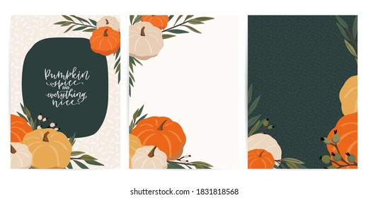 Fall party invitation, banner, flyer, card template set with isolated white and yellow pumpkin decoration vector clipart under mask. Thanksgiving quotes, autumn frames and neutral pattern background.