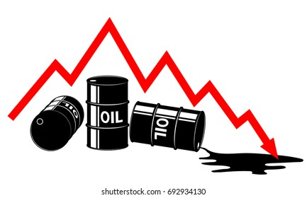 The fall in the price of oil. Graph and barrels. The cost decreases. The crisis of the economy. Black and red.