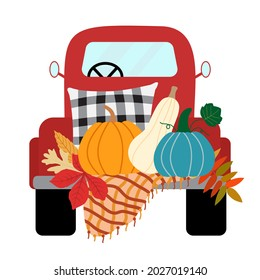 Fall red pickup truck with pumpkins, pillow, warm blanket, leaves, isolated on white background. Vector harvest illustration.