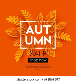 Fall sale background design with colorful paper cut autumn leaves. Vector illustration EPS10