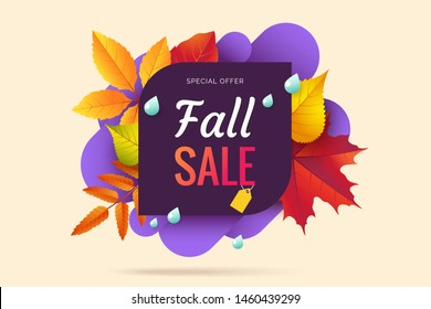 Fall sale banner design. Autumn sale sticker template. Abstract geometric background with colorful falling leaves. Fallen foliage backdrop. Promo badge for your seasonal design. Vector illustration.