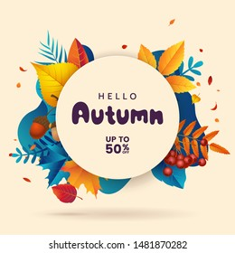 Fall sale banner template. Autumn abstract geometric background with fallen leaves, berries, acorns. Autumn decorative poster. Promo badge for your seasonal design. Vector illustration.