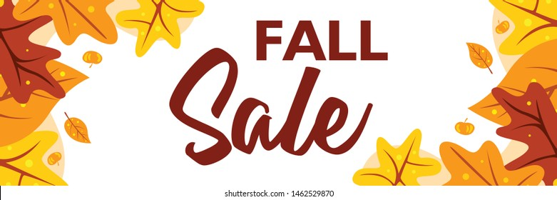 Fall sale banner template with maple leaves on white background. Special offer up to 50% off. Poster design layout with autumn theme for promotion and publication. Vector illustration