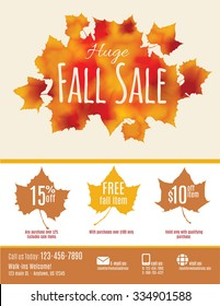 Fall Sale flyer with watercolor Fall Leaves