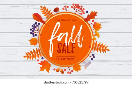 Fall sale leaf pattern background of autumnal maple, oak or rowan leaf for autumn shopping discount or shop promo. Vector golden calligraphy font Fall Sale design in orange circle on white background