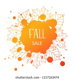 Fall sale. Vector grunge background with orand hand drawn outline leaves and blobs and text