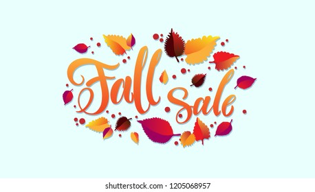 Fall sale - vector illustration with handdrawn lettering as signboard, poster, invitation, flyer