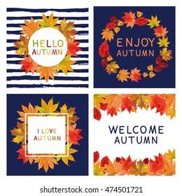 Fall set. Leaves composition.Banners of autumn season. Hand drawn autumn leaves; welcome autumn; hello autumn; enjoy autumn
