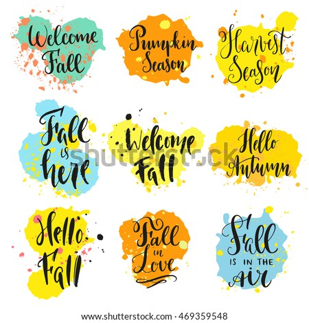 Fall theme sayings modern calligraphy style stock vector royalty fall theme sayings in modern calligraphy style with ink stains blobs and strokes isolated m4hsunfo