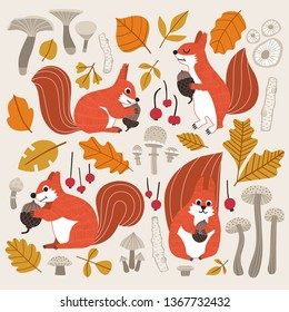Fall themed cute squirrels vector illustration. Fall leaves, mushroom, tree branches, fruits, different squirrels collecting nuts.