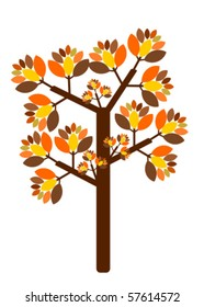 Fall tree with colorful leaves vector illustration